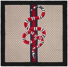 Web and Kingsnake print GG silk scarf