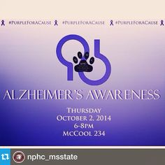 @nphc_msstate---Come support MSU's NPHC and the Alzheimer's Association on Thursday! Don't forget to wear your purple!