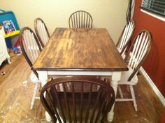 Our rustic kitchen table redo. A worthwhile Pinterest inspired DIY. :) I like the way the chairs are done...