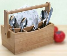 Maxwell & Williams Bamboo Utensil CADDY Practical caddy contains 4 compartments for flatware, napkins or condiments.