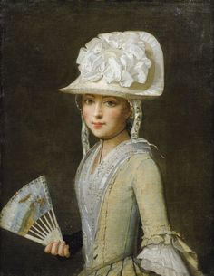 PROVENÇAL SCHOOL, 18TH CENTURY ; PORTRAIT OF A YOUNG LADY WITH A FAN ; OIL ON CANVAS: