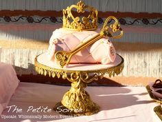 Pink & Gold Crown & Sceptor Center Piece  Part center pieces for reception - wedding party table