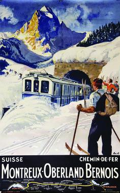 'Montreux Berner Oberland Schweiz Vintage Travel Poster' Poster by vintagetravel Ski Vintage, Vintage Ski Posters, Photo Vintage, Cool Posters, Old Poster, Retro Poster, Poster Ads, Advertising Poster, Print Poster