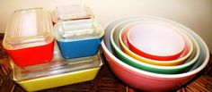 Vintage Pyrex primary colors mixing bowls and fridge set