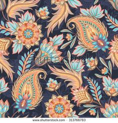 Traditional oriental paisley pattern. Seamless vintage flowers background. Decorative ornament backdrop for fabric, textile, wrapping paper, card, invitation, wallpaper, web design. - stock vector