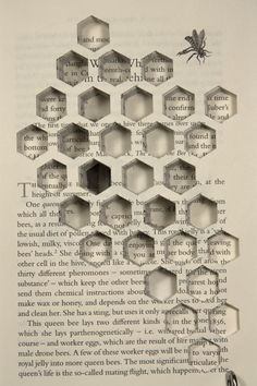 """Could be both wall art in a box or on a shelf in a bell jar or box. """"Knowledge to me is like honey to a bee. You have to chase it through the pages is a book. Instalation Art, Altered Book Art, Altered Books Pages, Up Book, Book Page Art, Modelos 3d, Bee Art, Book Projects, Clay Projects"""