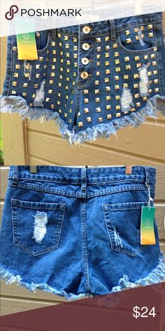 New Silver studded shorts. Sexy blue jean silver studded shorts with button up front. Size 42 equals a size 8 or 9. Purchased these sexy shorts and there are to small. Th. Reasa Shorts Jean Shorts
