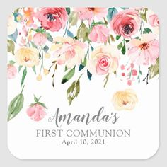Baptism Invitations Girl, Virtual Flowers, Peony Rose, First Communion, Different Shapes, Peonies, First Birthdays, Custom Stickers, Activities For Kids