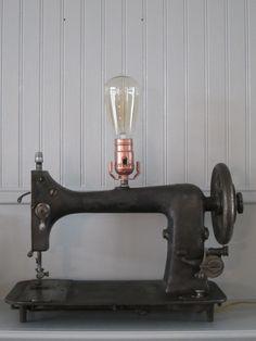 Vintage Sewing Machine Lamp. $100.00, via Etsy.