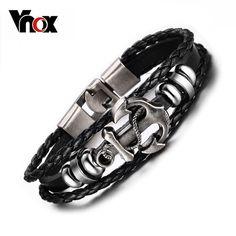 Vnox Vintage Anchor Bracelet Black Leather Charm Bracelets Men Jewelry Party Gift