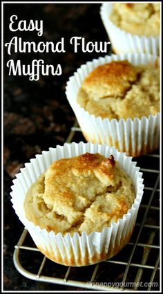 Easy Almond Flour Muffins recipe - gluten free and freezer friendly! Decent flavor, but a bit of salt would be good. I added tsp of lemon oil to bump up the lemon flavor, but it could use even more. Yummy Recipes, Dairy Free Recipes, Muffin Recipes, Low Carb Recipes, Cake Recipes, Dessert Recipes, Dinner Recipes, Cooking Recipes, Almond Flour Muffins