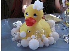 62 Ideas Baby Shower Ideas For Boys Rubber Ducky Ducky Baby Showers, Baby Shower Duck, Rubber Ducky Baby Shower, Baby Shower Games, Baby Shower Parties, Shower Bebe, Girl Shower, Baby Shower Centerpieces, Baby Shower Decorations