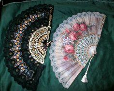 Lot 2 #vintage #fans Hand painted black & gray fabric & #Lace plastic handle fan #floralhandpaintedlace