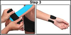 Kinesio tape - wrist support application for carpal tunnel syndrome and other injuries.