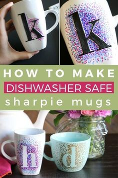 DIY sharpie mugs are an inexpensive and easy gift idea. Best of all, DIY sharpie. DIY sharpie mugs are an inexpensive and easy gift idea. Best of all, DIY sharpie mugs can be customized a zillion differ. Cute Diy Crafts, Diy Crafts To Sell, Diy Crafts For Kids, Sell Diy, Kids Diy, Decor Crafts, Adult Crafts, Simple Crafts, Crafts For Gifts