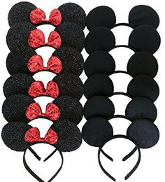 Mickey Mouse Ears Solid Black and Bow Minnie Headband for Boys and Girls Birthday Party or Celebrations (Pack of 12), http://www.amazon.com/dp/B01CA2RYH2/ref=cm_sw_r_pi_awdm_.0C.wb02BX645