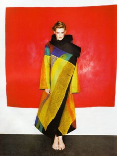 stella tennant in issey miyake photographed by michael thompson for vogue paris december 1997
