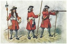 The Earl of Mar's Regiment of Foot circa. Military Dresses, Rifles, Military History, 17th Century, Warfare, Knight, Army, Drawings, Illustration