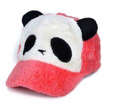 c1f0a9cb2e5 New fashion spring autumn winter Children panda Plush baseball cap Cartoon  warm headwear flat faux hat cap faux fur child beanie
