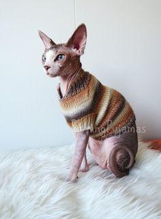 Cat clothes  warm cat sweater sphynx cat sweater di PurringPyjamas