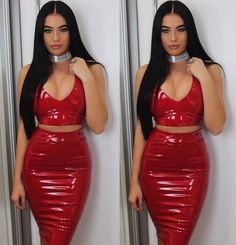 Body hugging in the classiest way. This leatherette two piece set gives curves to any figure. Made from high shine vinyl. The skirt is high waisted with a back