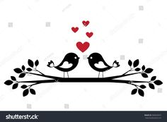Silhouette cute birds in love. Stylish card for Valentine day. Vector illustration