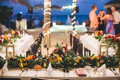 CBC196  Weddings Riviera Maya greenery runner centerpiece/ bodas centro de mesa , follajes