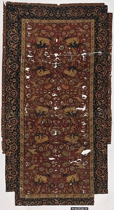 Carpet  Object Name:     Carpet Date:     16th century Geography:     Iran Medium:     Silk (warp and weft), wool (pile); asymmetrically knotted pile Dimensions:     Rug: L. 140 in. (355.6 cm) W. 71 1/4 in. (181 cm) Classification:
