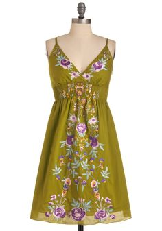 New Zeal Dress - Mid-length, Green, Floral, Embroidery, Spaghetti Straps, Casual, Boho, Multi, Yellow, Blue, Purple, White, Empire, Summer
