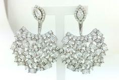 Sterling Silver Double Earrings,Double Earrings,925 Sterling Silver,Ear Cuffs,Trendy Earrings,Dangle Earrings,Fancy Earrings,Ear Jacket, by Vaptism on Etsy