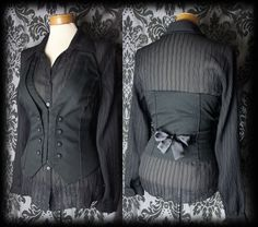 Gothic Black Fitted LIFE OF SHADOWS Bow Detail Corset Waistcoat 10 12 Steampunk - £29.00