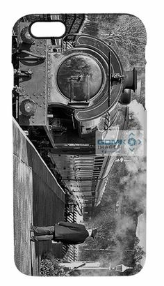 Black and white view of the station master waiting on the platform at Darley Dale railway station as a passenger train arrives.This mobile phone case is available as a flip case or hard case for iPhone 4 5 6 and 7, Samsung Galaxy 4 5 6 7 plus most Sony and HTC mobile phones. Available as a soft pouch for every other mobile phone type. #iphone #samsung  #steamtrains #Railways #accessories #smartphones #mobilephones