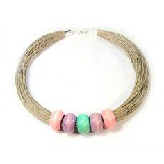 Naszyjnik z lnu i drewna PASTELOWY Raj, Turquoise Bracelet, Bracelets, Jewelry, Jewlery, Jewerly, Schmuck, Jewels, Jewelery