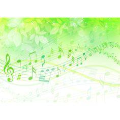 フリーイラスト, ベクター画像, AI, 背景, 植物, 葉っぱ, 音楽, 楽譜, 音符, 緑色(グリーン)
