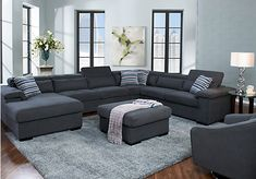 picture of Carroll Lane Gunmetal 7 Pc Sectional Living Room  from Living Room Sets Furniture