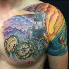 Chest piece by Chad Whitson-Bearcat Tattoo Gallery-Little Italy-San Diego, CA