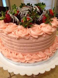 Strawberry Birthday Cake- except cream colored without roses :)