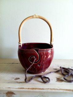 I am in love !    So want one! Yarn Bowl Knitting bowl yarn organizer craft by redhotpottery, $44.00