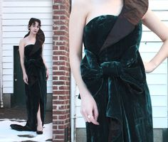 Vintage Couture Gown // Dark Teal Velvet One Shoulder Dress with Train and Bow // Avant Garde Fan Collar Bombshell Evening Dress // DIVINE by TrueValueVintage on Etsy