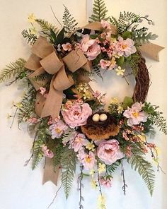"""""""BLUSHING PEONIES"""" - Vintage Chic Shabby Cottage Rustic Woodsy Spring Wreath"""