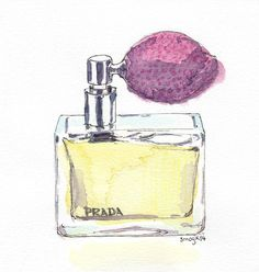 This is an original Watercolour illustration of a Prada Perfume. ♥ ♥ ♥ ♥ ♥ Would you like to see a different perfume illustration? Let me know,