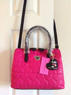 Betsey Johnson Be Mine Quilted Heart Triple Compartment Shoulder Tote Fuchsia  #BetseyJohnson #TotesShoppers