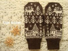 this pattern could easily translate into a sweater, a pillow , a wall hanging. Sweater Mittens, Fingerless Mittens, Knitted Gloves, Double Knitting Patterns, Knitting Designs, Diy Crafts Knitting, Knitting Projects, Fair Isle Knitting, Knitting Socks