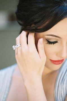 A Modern Emerald Cut Engagement Ring and Dramatic Bridal Makeup | Allen Tsai Photography on @heyweddinglady via @aislesociety