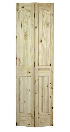 2 Panel Arch Top V-Groove Knotty Pine Bifold Door