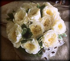 Creamy white garden roses, ivy and lace~