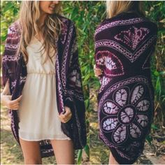"""The JENA kimono - BURGUNDY Brand new, ️NO tags. 100% polyester. Approximately 45"""" long. ️AVAILABLE IN BROWN & BURGUNDY. ‼️️NO TRADE, PRICE FIRM‼️ Bellanblue Accessories Scarves & Wraps"""