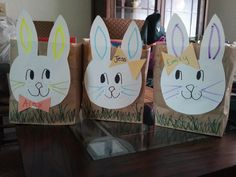 paperbag Easter Basket- make a bunny head out of tagboard then staple to a folded down lunch sack. Bow tie for boys, hair bow for girls!