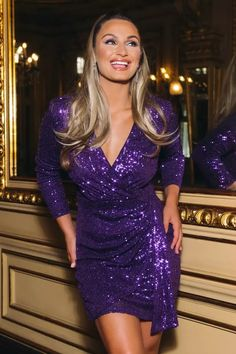 Buy Sam Faiers Purple Sequin Wrap Ruched Side Dress online now from Quiz. Great deals and free UK delivery Go Out Outfit Night, Night Outfits, Fashion Outfits, Women's Fashion, Fashion Trends, Purple Sequin Dress, Sam Faiers, Bodycon Dress With Sleeves, Going Out Outfits