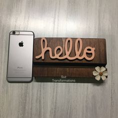 Hello Phone Smartphone iPhone iPad Mobile Device Wood Stand Docking Charging Station Holder | Work Office School Desk Phone Organizer Decor by SuzTransformations on Etsy